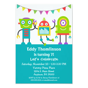 7 year old birthday invitations zazzle robots birthday invitation boys colorful robot filmwisefo