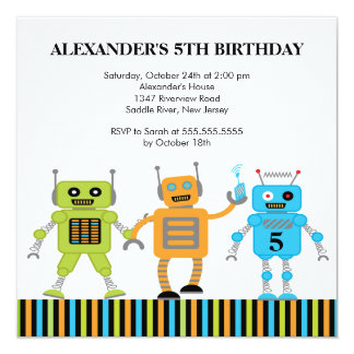 "Robots Birthday Party Invitation 5.25"" Square Invitation Card"