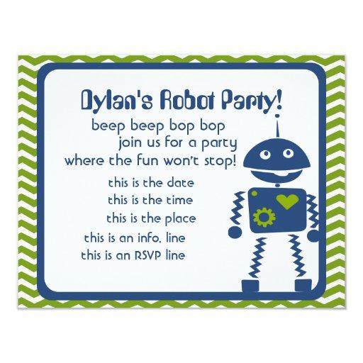 Robots Bop 4.25x5.5 Paper Invitation Card