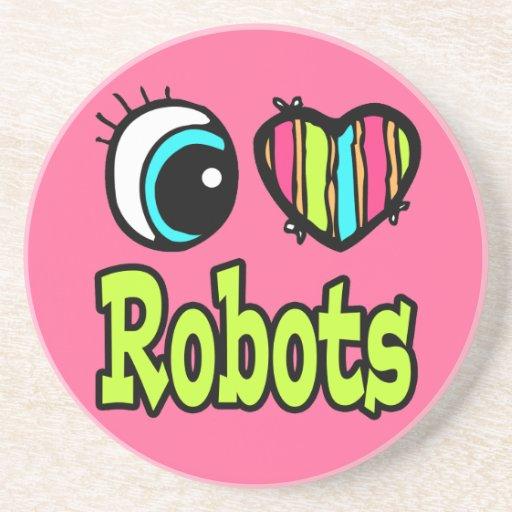Robots brillantes del amor del corazón I del ojo Posavaso Para Bebida