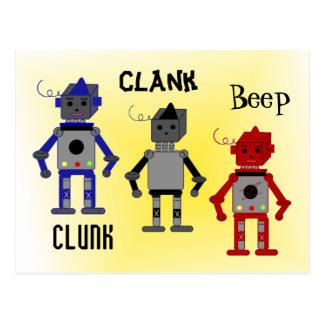 Robots con refranes divertidos tarjeta postal