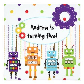 Robots Customized Birthday Invitations