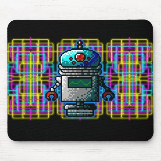 ¡Robots de 8 bits de neón de Outerspace! Tapetes De Ratones