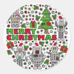 Robots de las Felices Navidad Pegatina Redonda