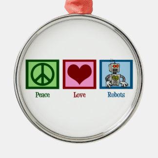 Robots del amor de la paz adorno navideño redondo de metal