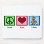 Robots del amor de la paz alfombrilla de raton