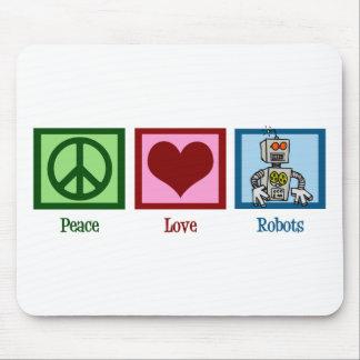 Robots del amor de la paz mousepads