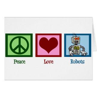 Robots del amor de la paz tarjeta de felicitación