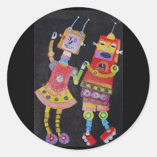 Robots del baile pegatina redonda