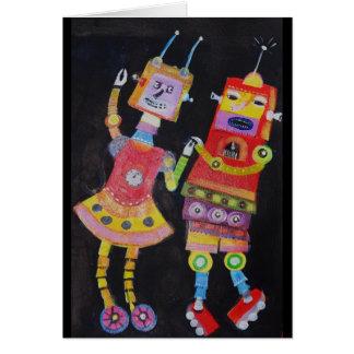 Robots del baile tarjeta de felicitación