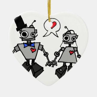 Robots del boda adorno navideño de cerámica en forma de corazón