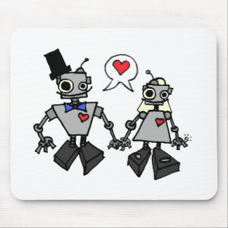 Robots del boda alfombrilla de ratones