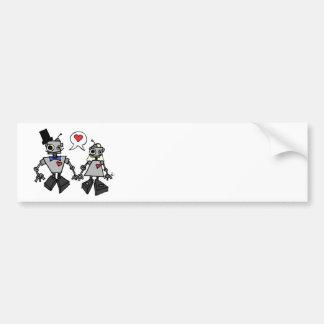 Robots del boda etiqueta de parachoque