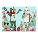 Robots en colores pastel del día de fiesta del tarjeta de felicitación