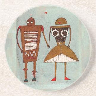Robots en iphone del amor posavasos diseño