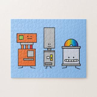 Robots felices de la máquina puzzle con fotos