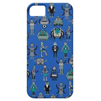 Robots! Geek Vintage Retro Robots on Blue iPhone SE/5/5s Case