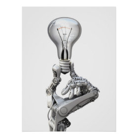 Robot's hand with a bulb poster
