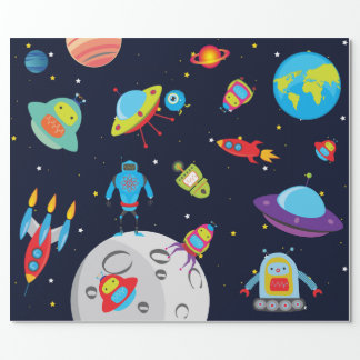 Robots in Outer Space (Large Image) Wrapping Paper