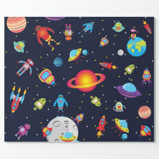 Robots in outer space med images wrapping paper zazzle for Outer space paper
