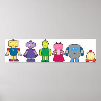 Robots lindos del dibujo animado póster