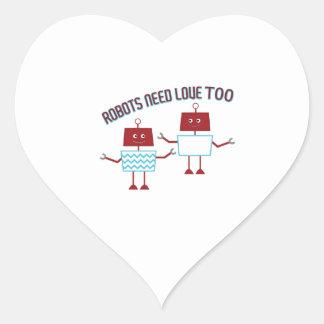 Robots Need Love Heart Sticker