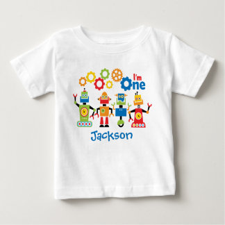 Robots Personalized First Birthday Tshirt