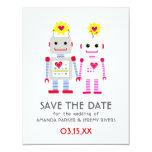 Robots que casan reserva la tarjeta de fecha invitacion personalizada