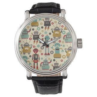 Robots retros (crema) reloj