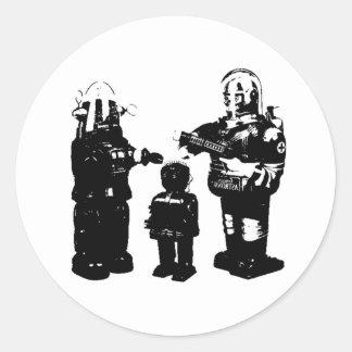 Robots retros del juguete etiqueta redonda