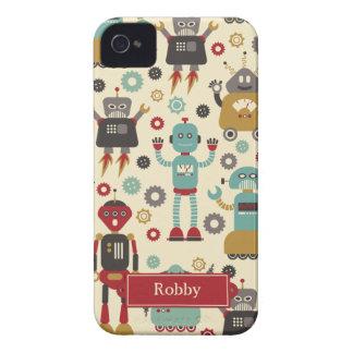 Robots retros personalizados (crema) iPhone 4 cárcasa