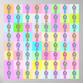 Robots retros v2 del arte pop póster