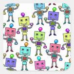 Robots retros viejos de Skool Pegatinas Cuadradases