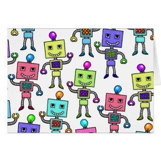 Robots retros viejos de Skool Tarjeta De Felicitación