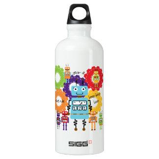 Robots Rule Aluminum Water Bottle
