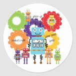 Robots Rule Classic Round Sticker