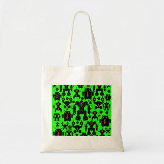 Robots Rule Fun Robot Silhouettes Lime Green Bag