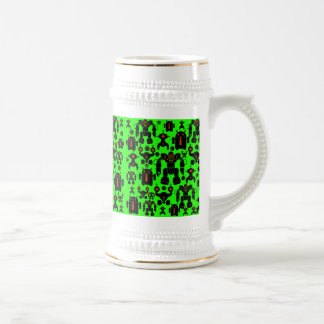 Robots Rule Fun Robot Silhouettes Lime Green Beer Stein