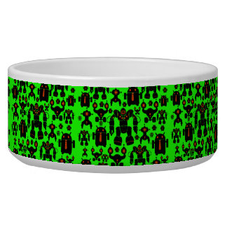 Robots Rule Fun Robot Silhouettes Lime Green Bowl
