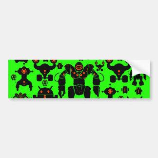 Robots Rule Fun Robot Silhouettes Lime Green Bumper Sticker