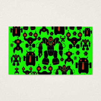 Robots Rule Fun Robot Silhouettes Lime Green Business Card