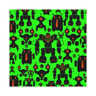 Robots Rule Fun Robot Silhouettes Lime Green Gallery Wrap Canvas