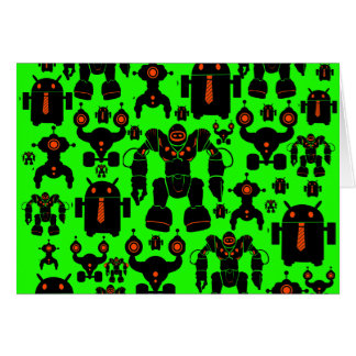 Robots Rule Fun Robot Silhouettes Lime Green Stationery Note Card