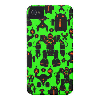 Robots Rule Fun Robot Silhouettes Lime Green iPhone 4 Cases
