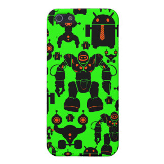 Robots Rule Fun Robot Silhouettes Lime Green Covers For iPhone 5