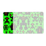 Robots Rule Fun Robot Silhouettes Lime Green Custom Shipping Label
