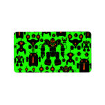 Robots Rule Fun Robot Silhouettes Lime Green Custom Address Labels