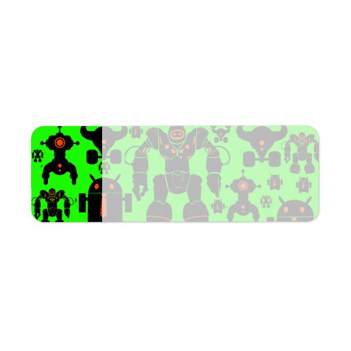 Robots Rule Fun Robot Silhouettes Lime Green Labels