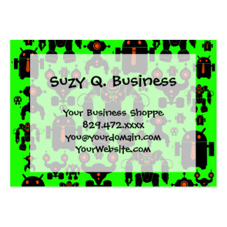 Robots Rule Fun Robot Silhouettes Lime Green Large Business Card