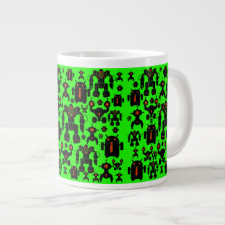 Robots Rule Fun Robot Silhouettes Lime Green Large Coffee Mug